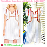 White Pinstripe Flutter Sleeve Dress with Multicolor EMBROIDERY