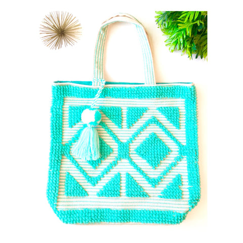 Turquoise & White HAND LOOMED Textured Oversized Beach or Travel Tote