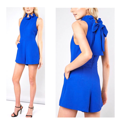 Royal Blue Ruffle Neck Romper with Bow Back & POCKETS