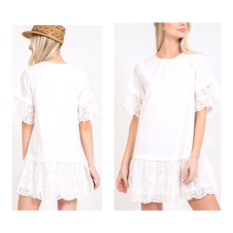 White Drop Hem Shift Dress with Eyelet Contrast