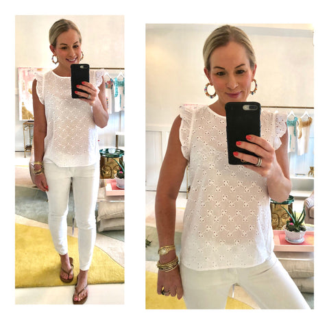 White Eyelet Flutter Sleeve Top