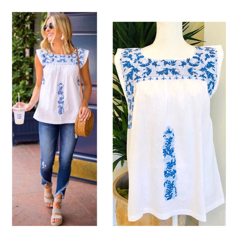 White & Cerulean Blue Embroidered Textile Top