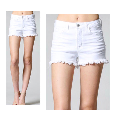 White High Rise Distressed Hem Denim Shorts with Slight High Low Hem