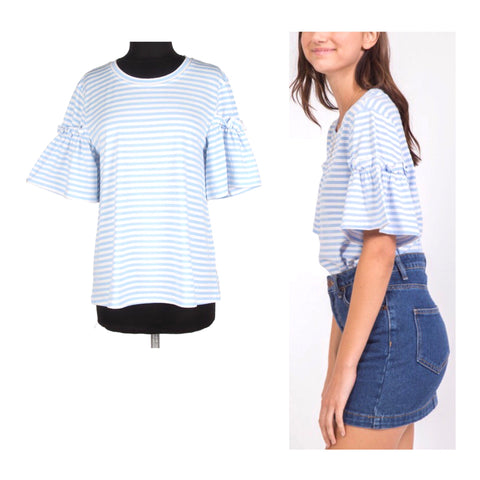 Baby Blue & White Stripe Bell Sleeve Tee with Ruffle Sleeve Contrast