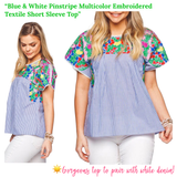 Blue & White Pinstripe Multicolor Embroidered Textile Short Sleeve Top