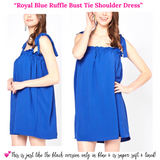 Royal Blue Ruffle Bust Woven Tie Shoulder Dress