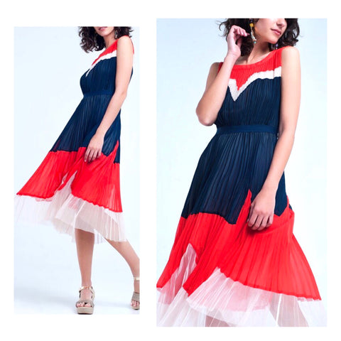 Navy White & Poppy Red Pleated Tiered Midi Dress with Banded Waist