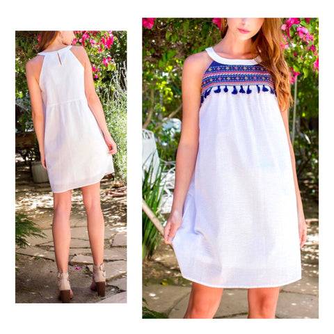 White Seersucker Stripe Halter Dress with Pink & Blue Embroidery & Tassels