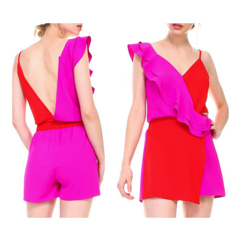 Red & Magenta Ruffle Bodysuit with Open Back