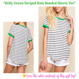 Kelly Green Striped Knit Banded Sleeve Tee