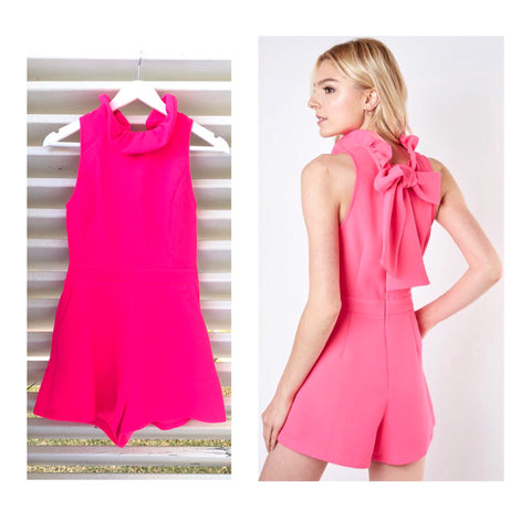 Hot Pink Ruffle Neck Romper with Bow Back & POCKETS