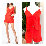 Embroidered Bright Coral & Orange Scalloped Hem Ruched Front Linen Cami (matching shorts sold separately)