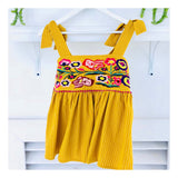 Yellow Pinstripe Floral EMBROIDERED Tie Shoulder Peplum Top