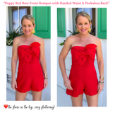 Poppy Red Bow Front Romper with Banded Waist & Peekaboo Back