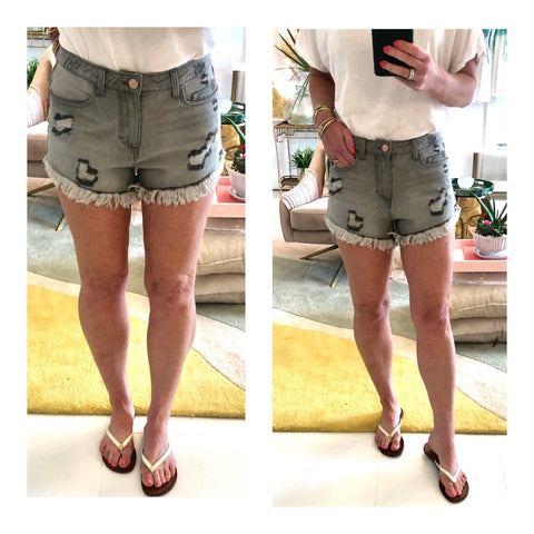 Heather Grey High Waisted Distressed Hem Denim Shorts
