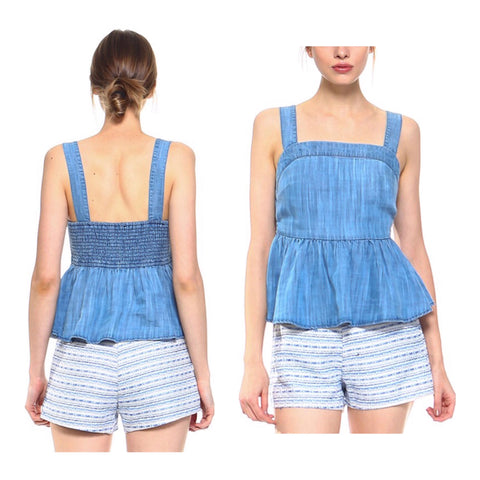 Chambray Peplum Cami Top with Smocked Back