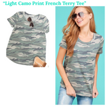 Light Camo Print French Terry Tee