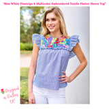 Blue White Pinstripe & Multicolor Embroidered Textile Flutter Sleeve Top with Keyhole Back