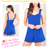 Royal Blue 'Tuxedo' Style Romper with Banded Waist & POCKETS