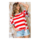 Red White Stripe & Blue Contrast Flutter Bell Sleeve Top with Optional Tie