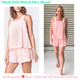 Pink Pleated Flare Shorts