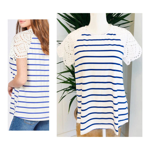 002e6f72f03f89 Royal Blue & White Stripe Knit Top with Eyelet Sleeves & Neckline ...