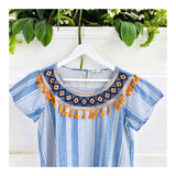 Blue Stripe EMBROIDERED Shift Dress with Orange Tassel Trim