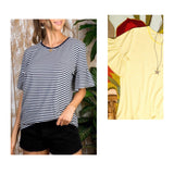 Navy OR Yellow & White Stripe Bell Sleeve Pique Tee