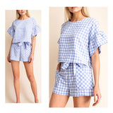 Blue & White Gingham Bell Sleeve Top with Keyhole Back
