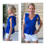 Royal Blue Tie Shoulder V-Cut Peplum Top