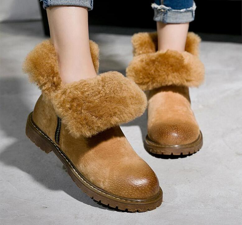 RETRO GENUINE LEATHER WOMEN'S WINTER PLUSH FUR BOOTS