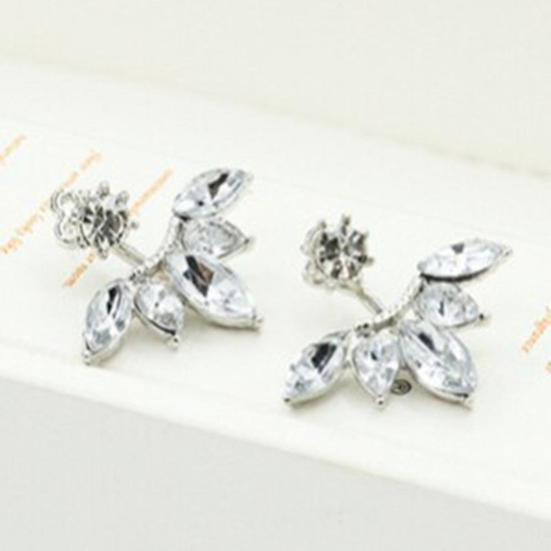 Leave Crystal Stud Earrings