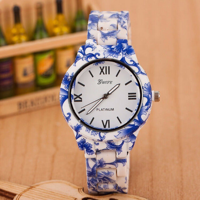 Luxury Flowers Printed Geneva Watch