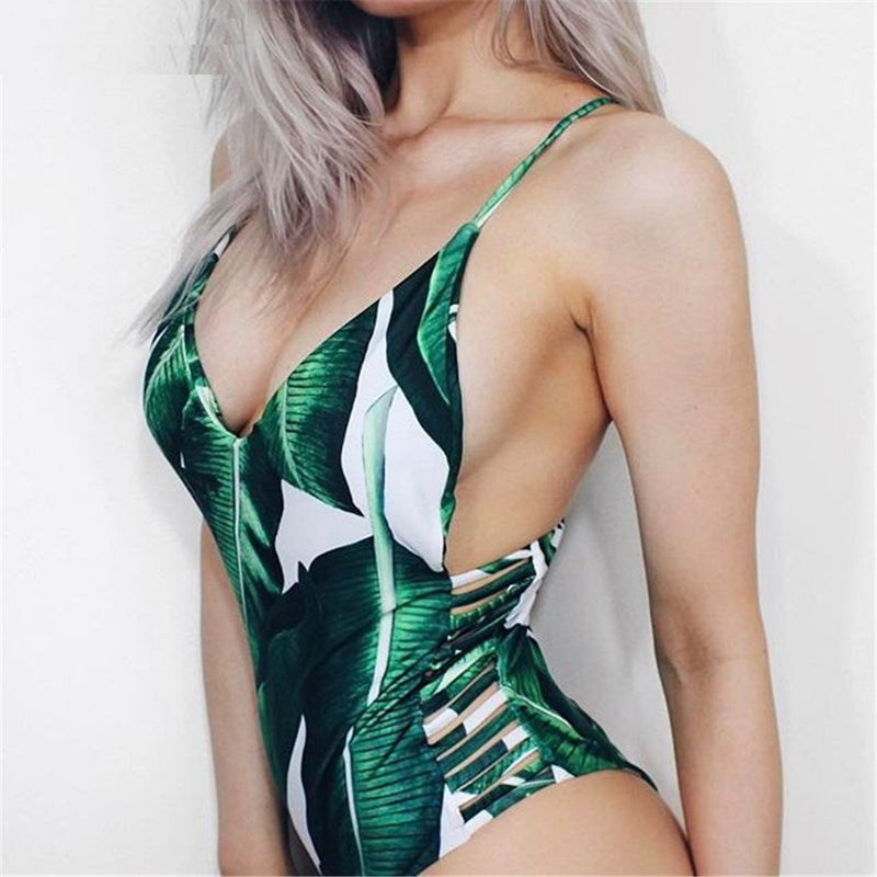 Leaf Print Hollow Out Swimsuit