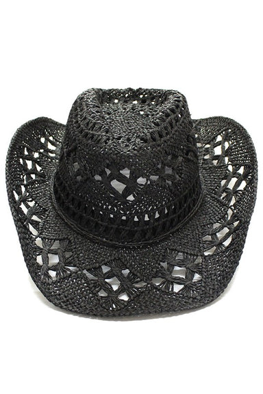 Black Straw material fedora hat.  100% paper.  Imported.