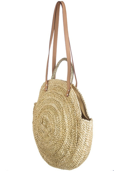 Straw Beach Bag with short and long hands