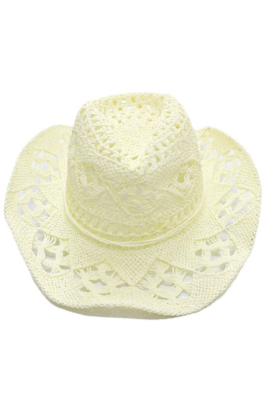 Ivory Straw material fedora hat.  100% paper.  Imported.