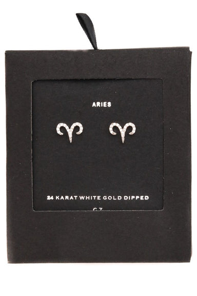 Aries Silver Zodiac Sign Earrings