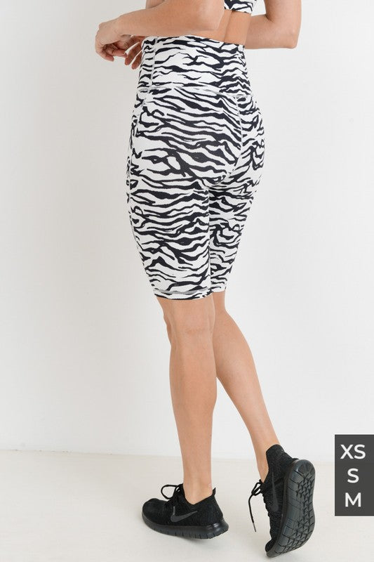 HIGH WAIST ZEBRA PRINT BERMUDA ACTIVE SHORTS