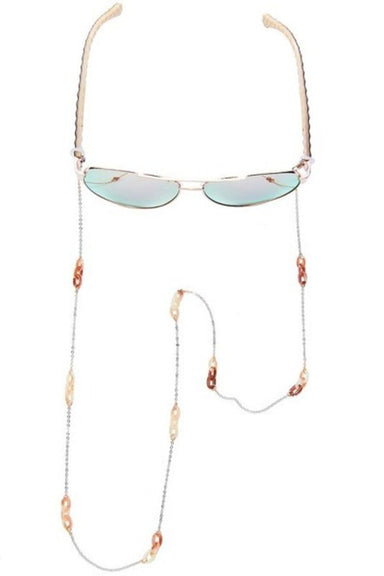 Silver & Tortoise Bead Face Mask Chain