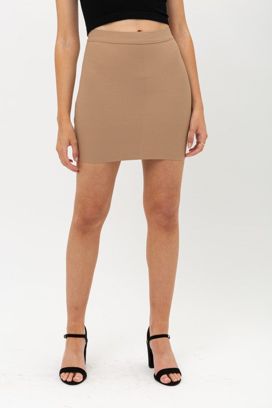 Nude Fitted Mini Skirt