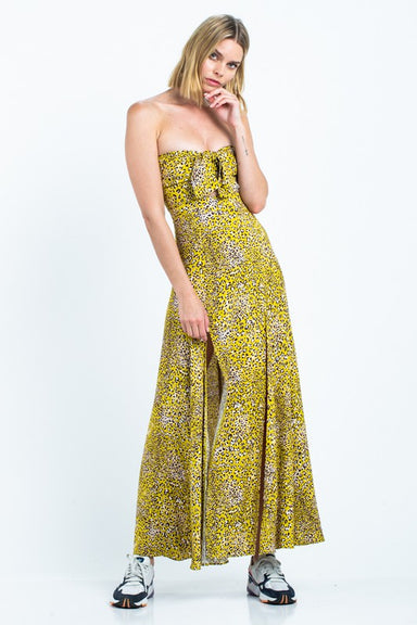 Animal Print Strapless Front Tied Maxi-Dress