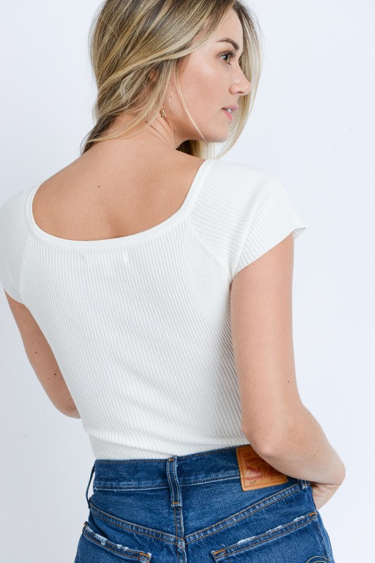 White Short Sleeved Ribbed Button Bodysuit