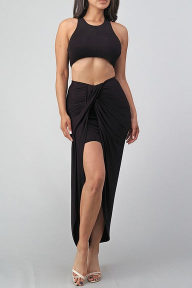 BLACK TANK TOP SLEEVELESS RAYON SPANDEX CROP TOP W/ HIGH WAIST