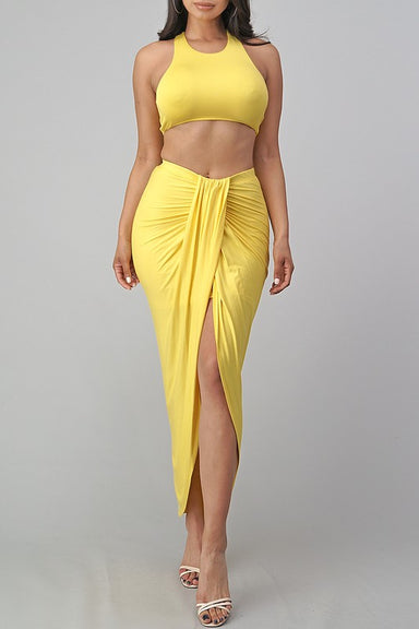 Yellow Tank Skirt Set