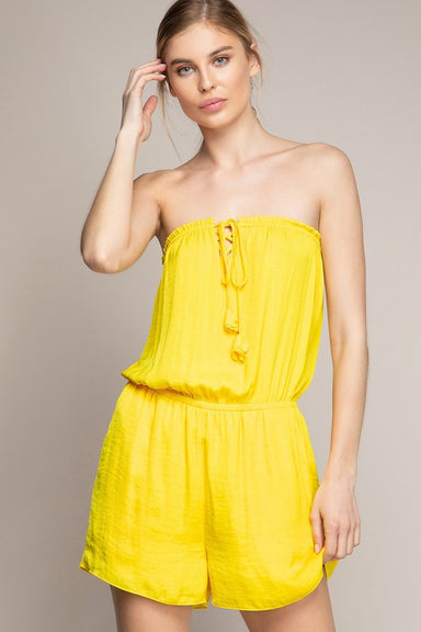 YELLOW TUBE ROMPER WITH FRONT SPAGHETTI DETAIL
