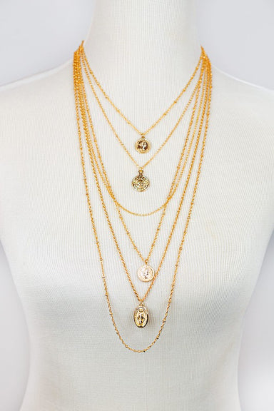 Gold 6 LAYER CHAIN AND COIN CHARM NECKLACE