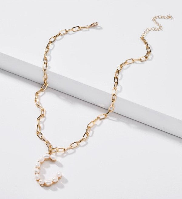 C Pearl Letter Necklaces