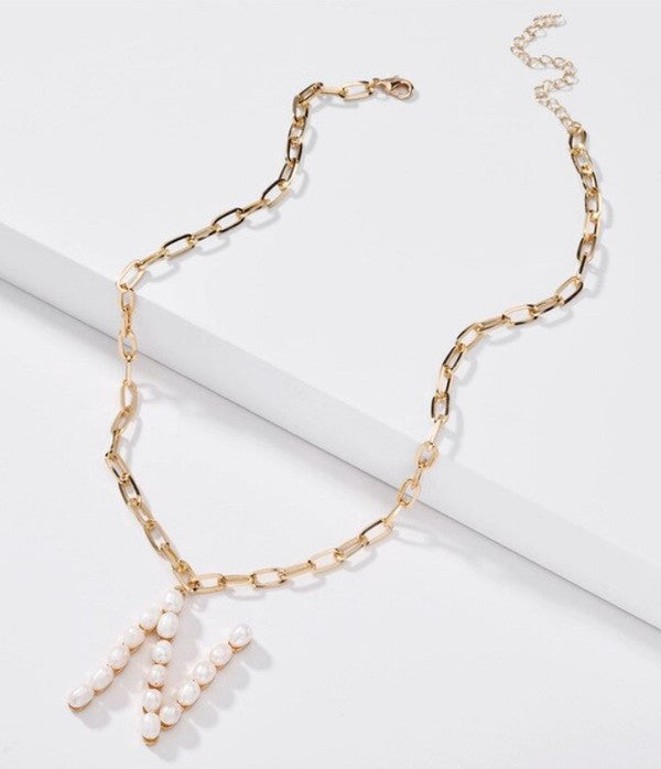 N Pearl Letter Necklaces
