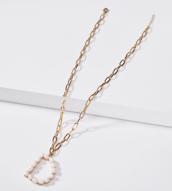 D Pearl Letter Necklaces